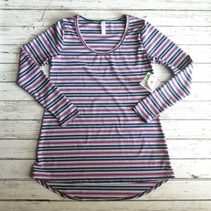 NWT LULAROE Lynnae Long Sleeve Navy Stripes Top XS